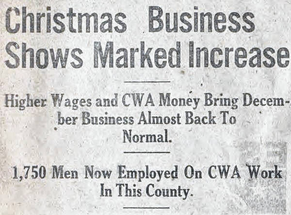 Headlines from the December 1933 editions of <em>The Democrat</em>