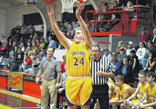 Southern senior Jensen Anderson (24) fires one of his five three-pointers in the third quarter of the Tornadoes' 58-37 victory on Thursday in Ravenswood, W.Va.