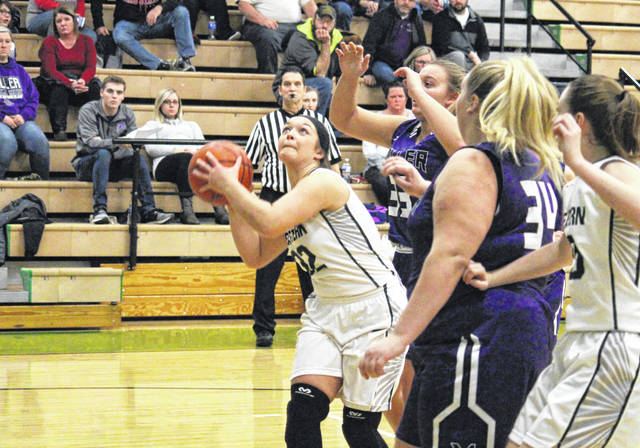 Eastern senior Kelsey Casto goes in for a layup, during the Lady Eagles' six-point win over Miller on Nov. 29 in Tuppers Plains, Ohio.