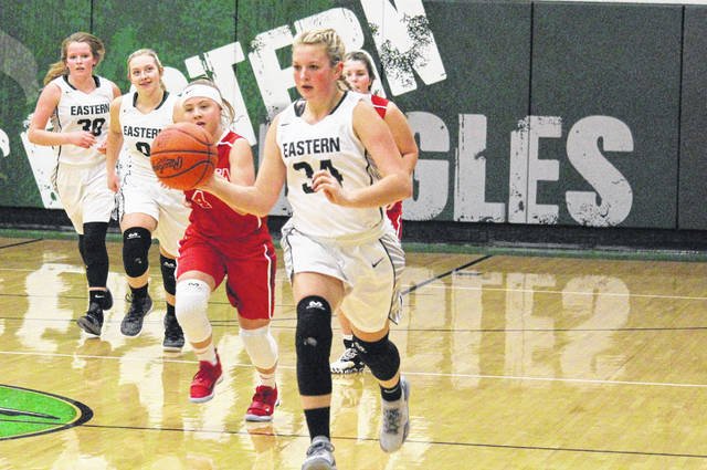 Eastern sophomore Tessa Rockhold leads a fast break, during the Lady Eagles' 47-37 victory on Thursday in Tuppers Plains, Ohio.