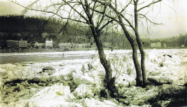 The winter of 1940 must have been much colder than the winter of 2019 has been so far. This photo from January 1940 was taken from the Mason, West Virginia side of the Ohio River looking toward downtown Pomeroy. The photo shows the large ice chunks from the frozen river piled along the shore in Mason.