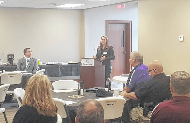 Elizabeth Well, Ohio Crime Victim Justice Center Legal Director, speaks about Marsy's Law during the Partners For Justice meeting and luncheon on Friday.