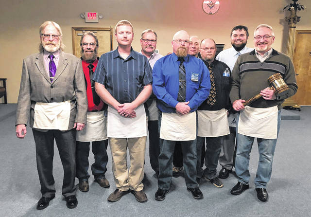 The corps of Officers of Middleport #363, who recently claimed the traveling gavel of the 18 lodges of the 12th Masonic district.