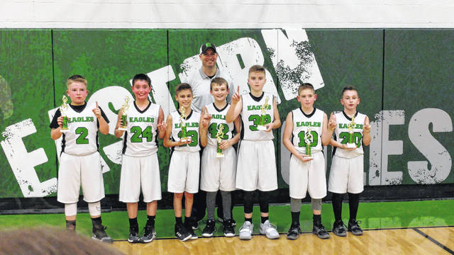Eastern Eagles 5th grade boys basketball team earned both the league and tournament championships of the Big Bend League for the 2018-19 season. Players (from left to right) are Lane Atha, Jace Stevens, Derrick Barnes, Hayden Wilcoxen, Colton Lloyd, Ethan Edwards, Hunter Needs. Head Coach is Greg Lloyd.