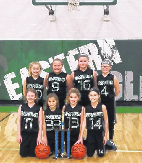 The Eastern Eagles 4th Grade Girls basketball team completed an undefeated 12-0 record, winning the Hocking Valley Basketball League Championship. The team compiled an overall record of 23-4, including tournaments, traveling and playing against teams from eight different counties in Southeast Ohio. They placed first in three tournaments and second in two tournaments. Team members are Aedre Ault, Mackenzie Robertson, Ashlynn Thomas, Rylie White, Nicole Nottingham, Sydney Honaker, Brooklyn Barkey, Sophia Wickersham. Coaches are Ty Ault and Jamie Robertson.
