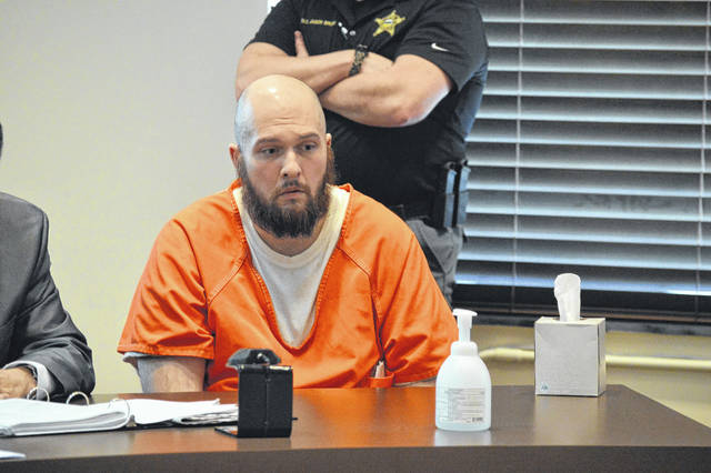 Matthew Preston listens to his sentence of eight years in a state facility with a lifetime driver's license suspension, Monday. Preston was charged with vehicular homicide in connection with the August 2018 death of Gallipolis resident, Robert Baxter. Preston had tested positive for nine different drugs in his system said Ohio State Highway Patrol officials, three of which were cited as being in high enough measurements to cause his impairment.