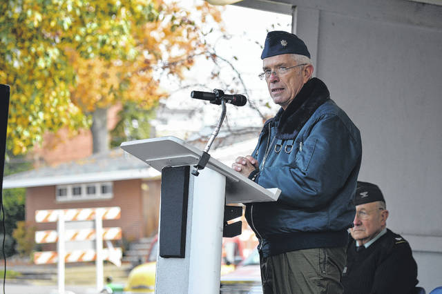 U.S. Congressman Bill Johnson (R - Marietta), a retired US Air Force lieutenant colonel, speaks to the gathered in Gallipolis City Park at a Veterans Day event in 2017. Johnson recently began his latest term in the U.S. Congress.