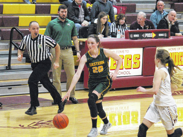 Eastern sophomore Olivia Barber (20) leads a fast break, during the Lady Eagles' non-conference bout on Jan. 21 in Rocksprings, Ohio.