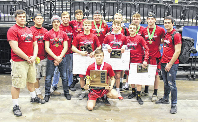 Point Pleasant's 14 state qualifiers pose for a picture after winning the 2019 Class AA-A WVSSAC championship on Saturday night at Big Sandy Superstore Arena in Huntington, W.Va.
