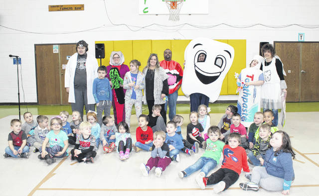 Preschool students at Carleton School are pictured with Mr. Tooth and friends as part of the dental health presentation on Wednesday morning.
