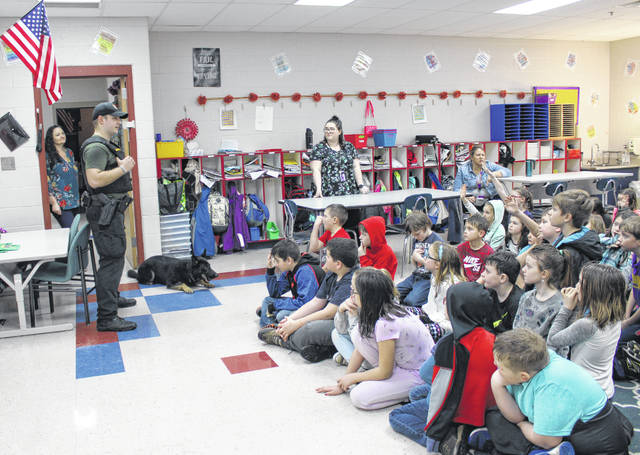 Deputy Tylun Campbell and K-9 Cheri visited third grade students at Southern Elementary on Thursday morning.