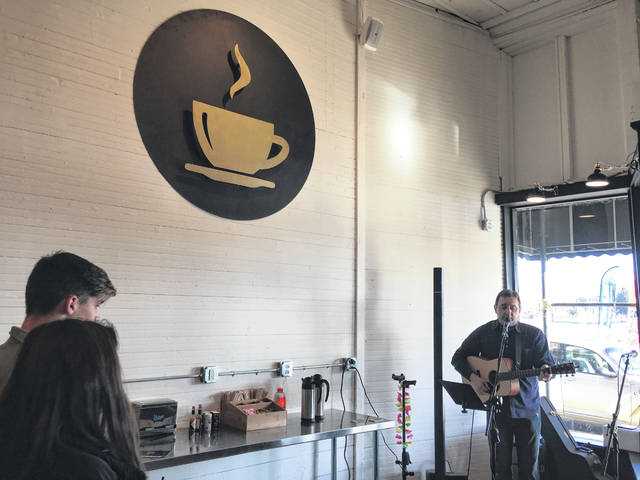 Brent Patterson while performing at River Roasters Coffee Co. during this past weekend's Cabin Fever Fest in downtown Pomeroy.