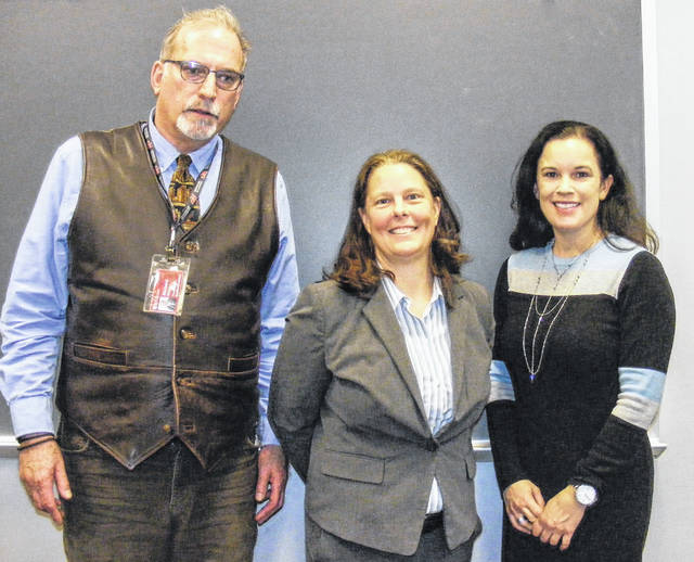 Associate Professor of Leadership Studies in Education and Organizations at Wright State University Dr. Corey Seemiller presented her research on the demographics of Generation Z to faculty and staff at Rio. Pictured left to right are Rio Provost and Vice President of Academic Affairs Dr. Richard Sax, Dr. Corey Seemiller and Executive Director of the OACC Student Success Center Laura Rittner.