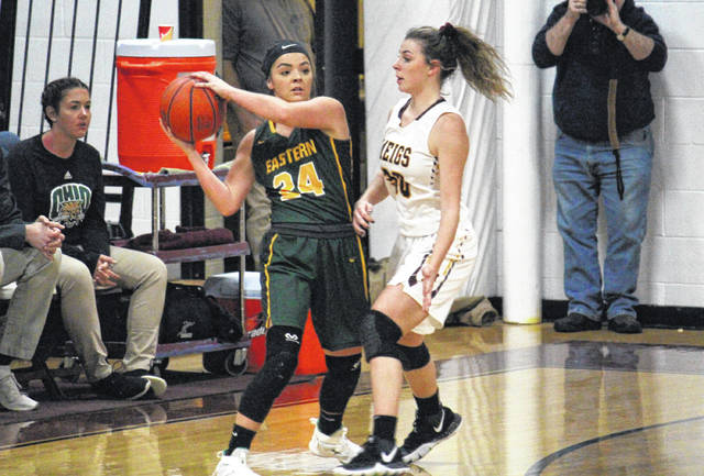 Eastern senior Alyson Bailey (24) is guarded by Meigs senior Kassidy Betzing (30), during a non-conference contest on Jan. 21 in Rocksprings, Ohio.