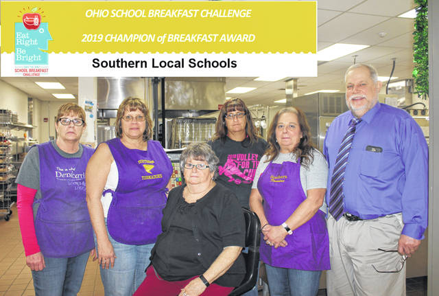The preparation and delivery process starts in the kitchen, but Southern staff and students all pitch in to make the classroom breakfast a reality. Pictured here is the Southern kitchen staff of Sheila Theiss, Becky Bradford, Jodi Cummins, Pam Humphrey, and Scott Wolfe. Seated is Alice Williams.
