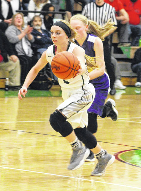 Eastern senior Jess Parker breaks away from a Southern defender during the first half of a Jan. 7 girls basketball contest in Tuppers Plains, Ohio.