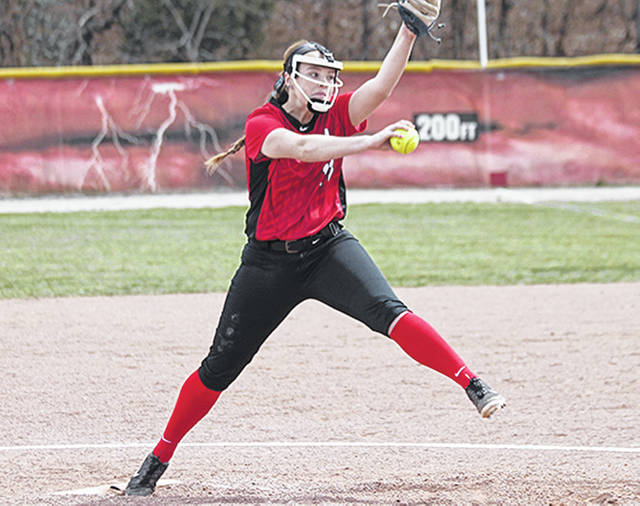 Rio Grande's Nicole Brown retired 16 of the final 17 batters she faced in Sunday's 5-2 game one win over Lawrence Tech in Rio Grande, Ohio.