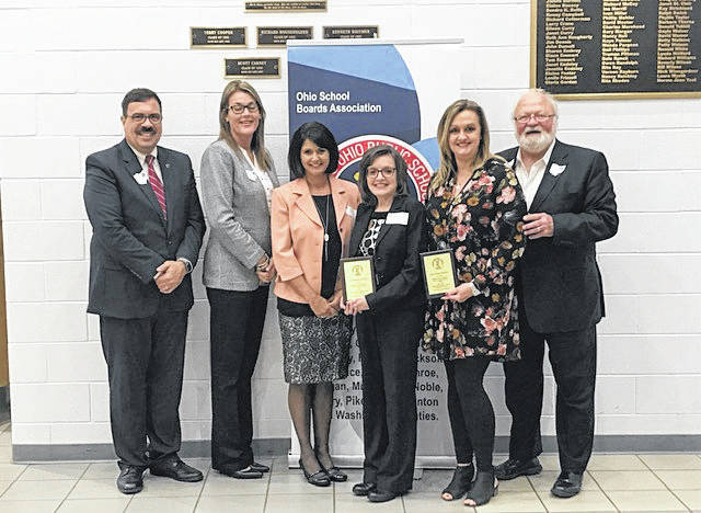 Meigs Primary School was recognized on Tuesday evening. Pictured, left to right, are John Halkias, OSBA President; Dr. Kathy McFarland, OSBA Deputy Chief Executive; Kristin Baer, Meigs Primary School Principal; Darla Kennedy, Meigs Primary School Teacher; Missy Howard, Meigs Primary School Teacher; and Larry Good, Southeast Region President.