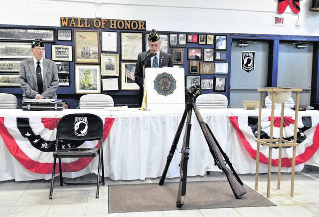 American Legion Post 39 members set up for the 'Post Everlasting Ceremony'
