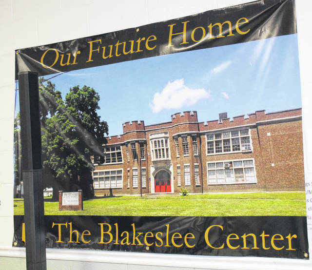 The banner for The Blakeslee Center was unveiled on Thursday evening at the March for Meals event.