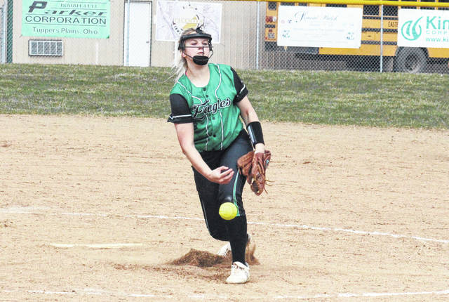 Eastern sophomore Tessa Rockhold releases a pitch during the Lady Eagles' TVC Hocking win over Waterford on Friday in Tuppers Plains, Ohio.