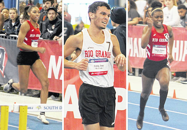 Rio Grande's Amirah Strauther, Dean Freitag and Chanavier Robinson, from left, represented the RedStorm in Friday's action at the NAIA Indoor Track and Field National Championships in Brookings, S.D.