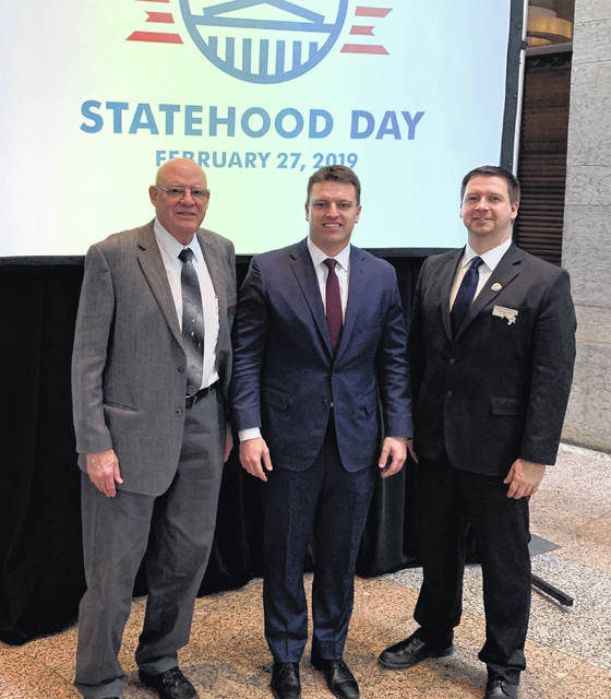 Meigs County Pioneer & Historical Society Trustees Jay Russell (left) and James K. Stanley (right) are pictured with State Representative Jay Edwards (center).