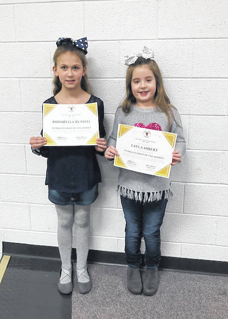 Annabella Russell and Layla Nibert were recognized as the STORM Students of the Month.