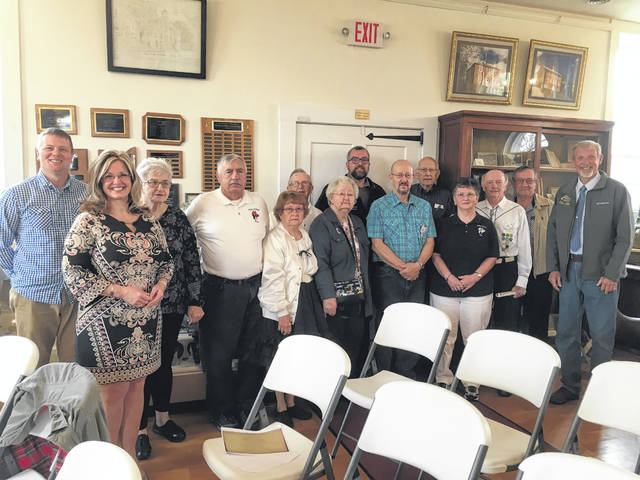 The Belles and Beaus Square Dance Club is celebrating the 50th anniversary. Those pictured with the Meigs County Commissioners President Tim Ihle, Randy Smith, and Jimmy Will are Belles and Beaus members from the past and the present.
