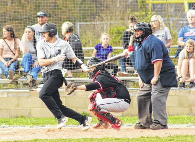 River Valley junior Chase Caldwell produces a hit during an April 10 TVC Ohio baseball contest against Alexander in Bidwell, Ohio.