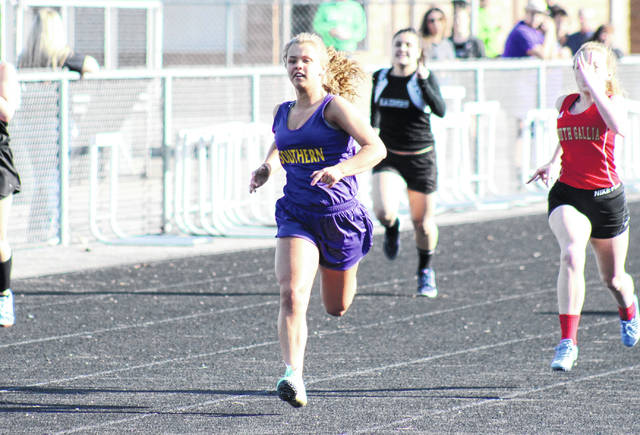 Southern senior Peyton Anderson competes in the 100m dash at the River Valley Open on April 2 in Bidwell, Ohio.