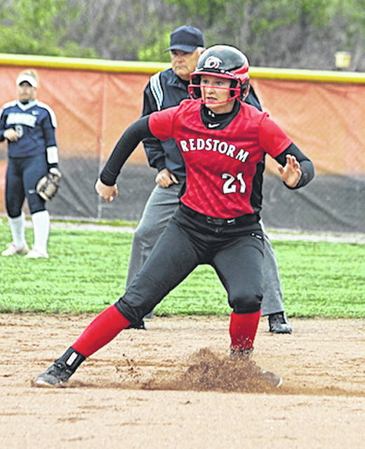 Rio Grande's Taylor Webb puts on the brakes after rounding second base in Monday's game one win over Shawnee State University at Rio Softball Park. Webb, a freshman from Willow Wood, Ohio, had four hits and five runs batted in as the RedStorm swept the Bears by scores of 6-2 and 10-2 in five innings.