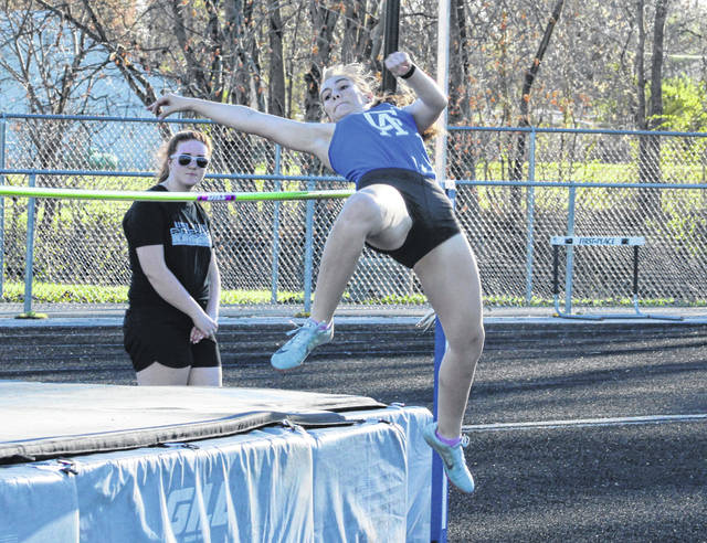 Gallia Academy junior Calista Barnes attempts to clear the bar during the high jump event held on April 9 at the 2019 Gallia County Meet at River Valley High School in Bidwell, Ohio.
