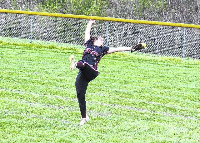 Meigs junior Bailey Swatzel makes a leaping catch, during the Lady Marauders' 6-5 setback on Wednesday in Rocksprings, Ohio.