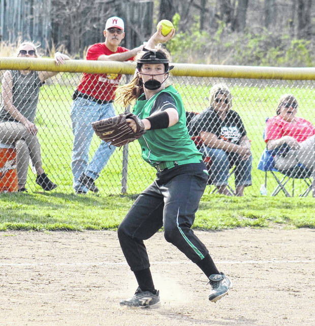 Eastern senior Emmalea Durst fires to first base, during the Lady Eagles' 9-8 setback on Thursday in Hartford, W.Va.