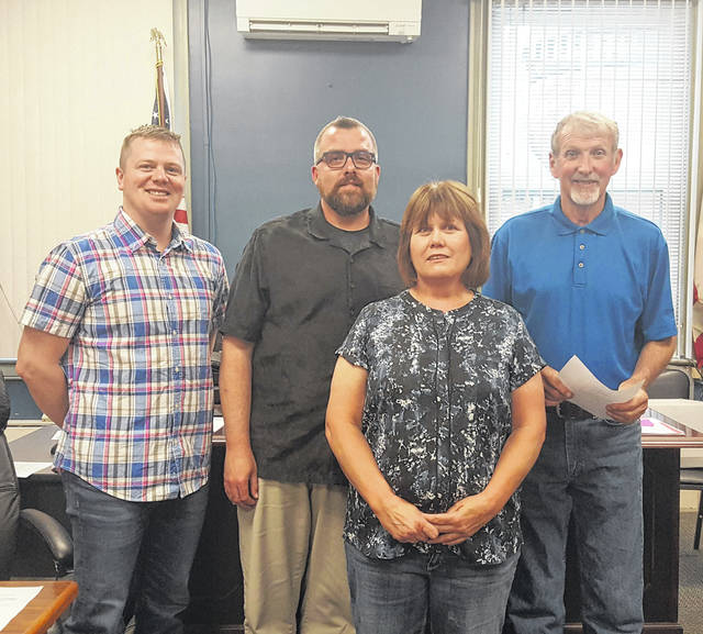 National Day of Prayer organizer Brenda Barnhart is pictured with Meigs County Commissioners Jimmy Will, Randy Smith and Tim Ihle.