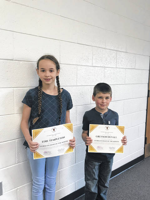 STORM Students of the Month Greyson Duvall and Edie Templeton.