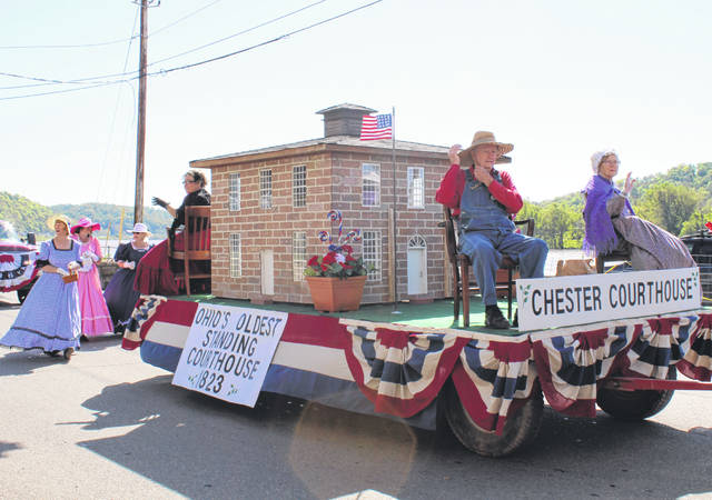 The Chester Shade Historical Association had a replica of the Chester Courthouse on the float.