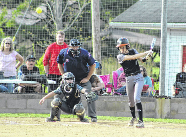 River Valley sophomore Sierra Somerville belts out a hit during an April 24 softball contest against Athens in Bidwell, Ohio.