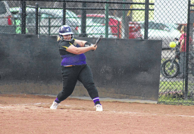 SHS junior Caitlynn DeLacruz singles to left field for part of hitting for the cycle, during the Lady Tornadoes to a 14-4 victory on Thursday in Racine, Ohio.
