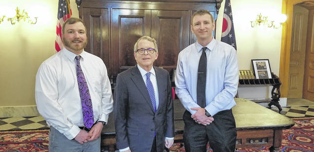 From left to right are Gallia Magistrate Thomas Saunders, Ohio Governor Mike DeWine and Meigs Magistrate and Gallia Assistant Prosecutor Jeremy Fisher.