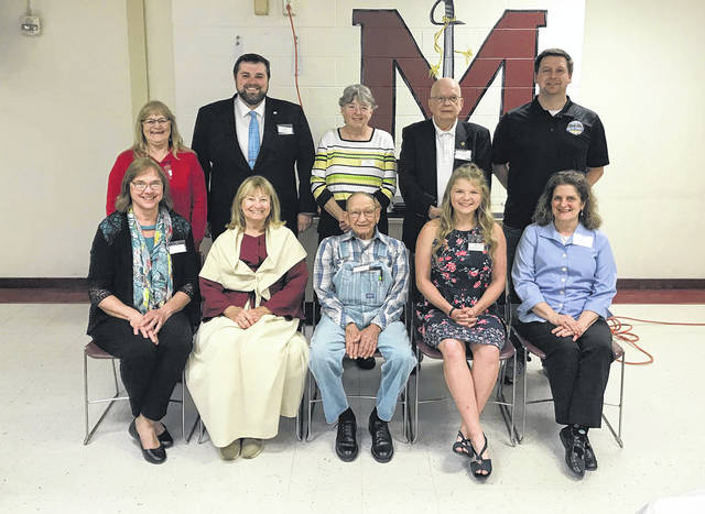 """Township Tales and Tidbits"" presenters were (back row, from left) Kim Romine, Bedford; Jordan Pickens, Lebanon and Scipio; Mary Wingo, Columbia; Bob Beegle, Sutton; James K. Stanley, Olive; (front row, from left) Donna Jenkins, Rutland; Opal Grueser, Salisbury; Ray Midkiff, Salem; Brielle Newland, Orange; and Lorna Hart, Letart. Not pictured is presenter Alan Holter."