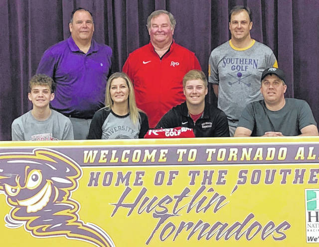 Southern senior Jensen Anderson, seated second from right, will be continuing his golf career at the University of Rio Grande after signing with the RedStorm on Monday, April 22, at SHS. Jensen is joined in front, from left, by his brother Cade, as well as parents Brandy and Brian Anderson. Standing in back are Southern Local Schools Superintendent Tony Deem, Rio Grande golf coach Keith Wilson and SHS golf coach Jeff Caldwell.