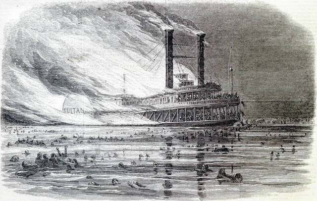 The explosion of Sultana, which killed Austin Bridgeman.