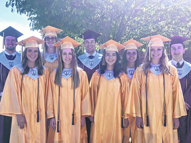 Meigs High School Class of 2019 Valedictorians and Salutatorian are pictured in their caps and gowns. Pictured, from left, are Salutatorian Matthew Jackson, and Valedictorians Lydia Edwards, Allison Hanstine, Madison Fields, Cole Durst, Hayley Lathey, Marissa Noble, Shalynn Mitchell and Evan Hennington.