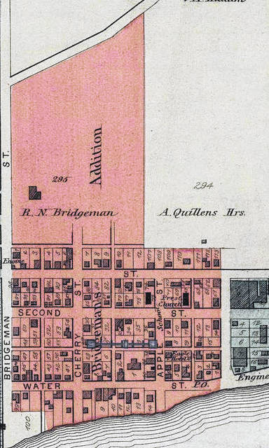 The land originally owned by the Bridgeman Family shown shaded in pink on an 1877 map.