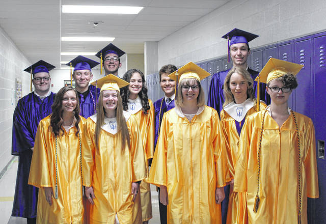Southern High School graduates gather for a photo before entering the gymnasium for Saturday evening's commencement ceremony. Pictured are Morgan Haines, Baylee Grueser, Emma Wolfe, Kathryn Matson, Jordan Knotts, Tysen Pullins, Mallory Johnson, Rylan Jarrell, Brayden Cunningham, Laramie Blevins and Declan Theiss.