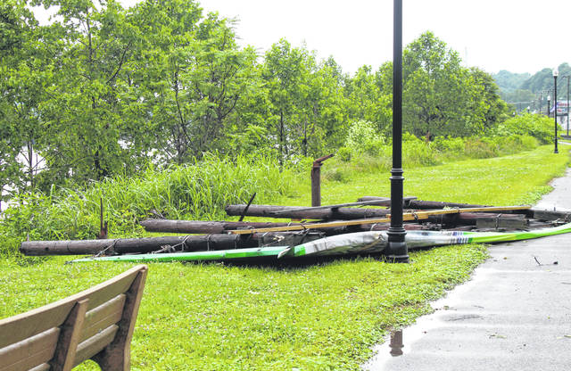 Storms which rolled through Meigs County on Wednesday afternoon caused downed trees and power lines, while knocking over a large Home National Bank billboard in Pomeroy. Power was out to more than 1,500 AEP Ohio customers in Meigs County on Wednesday afternoon. Additional storms were possible later in the day on Wednesday and on Thursday.