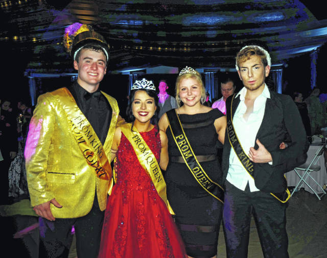 The 2019 Meigs High School Prom King and Queen were crowned on Saturday evening by the returning 2018 prom royalty. Pictured (from left) are Prom King Zachary Bartrum, Prom Queen Hayley Lathey, 2018 Prom Queen Morgan Michael and 2018 Prom King Beau Morris.