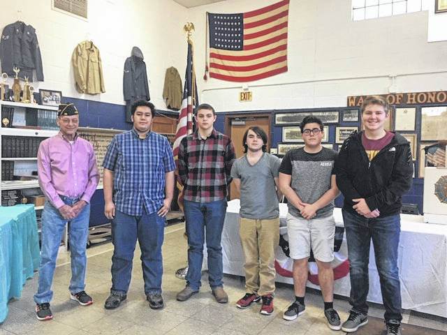 Delegates and Alternates attending, with Post Commander John Hood, included (left to right) Kevin Burke, Eastern High School; Gus Kennedy, Meigs High School; Brian Ackley, Meigs High School; Brandon Baer, Eastern High School; Austin Mahr, Meigs High School.